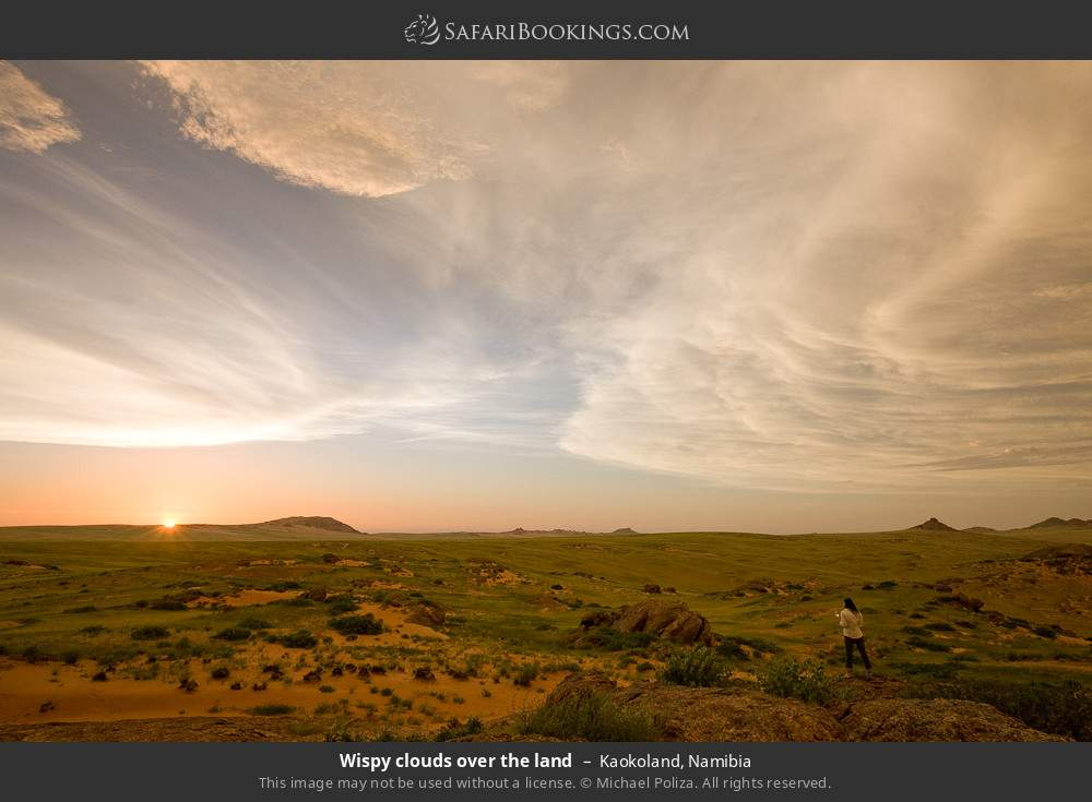 Wispy clouds over the land in Kaokoland, Namibia