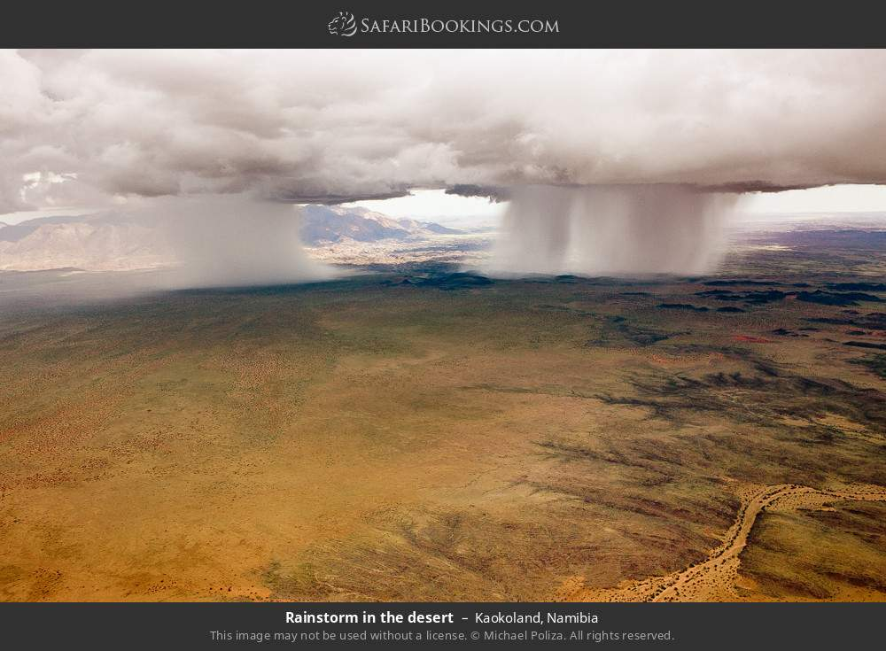 Rain storm in the desert in Kaokoland, Namibia