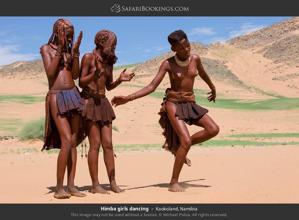 Himba girls dancing in Kaokoland, Namibia