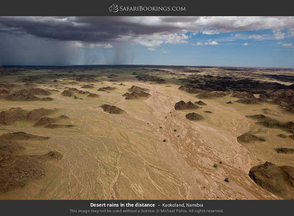 Desert rains in the distance in Kaokoland, Namibia