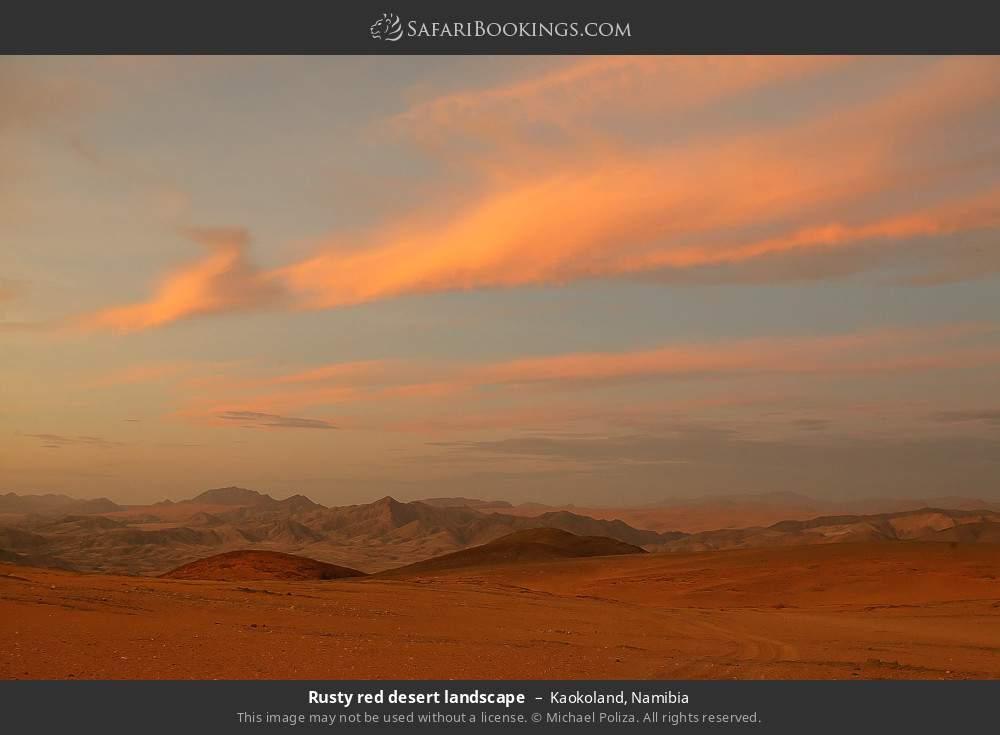 Rusty red desert landscape in Kaokoland, Namibia