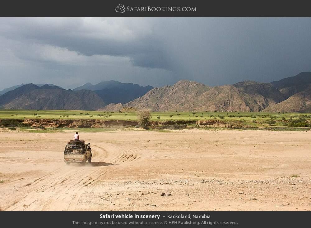 Safari vehicle in scenery in Kaokoland, Namibia