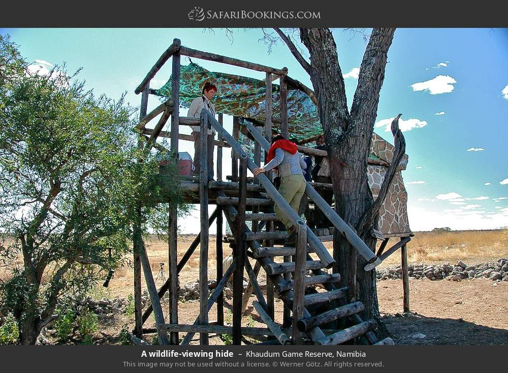 A game viewing hide in Khaudum Game Reserve, Namibia