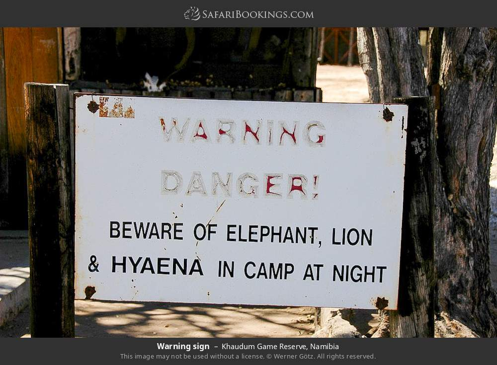 Warning sign in Khaudum Game Reserve, Namibia