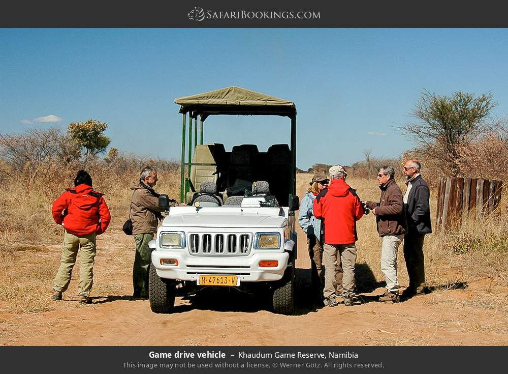 Game drive vehicle in Khaudum Game Reserve, Namibia