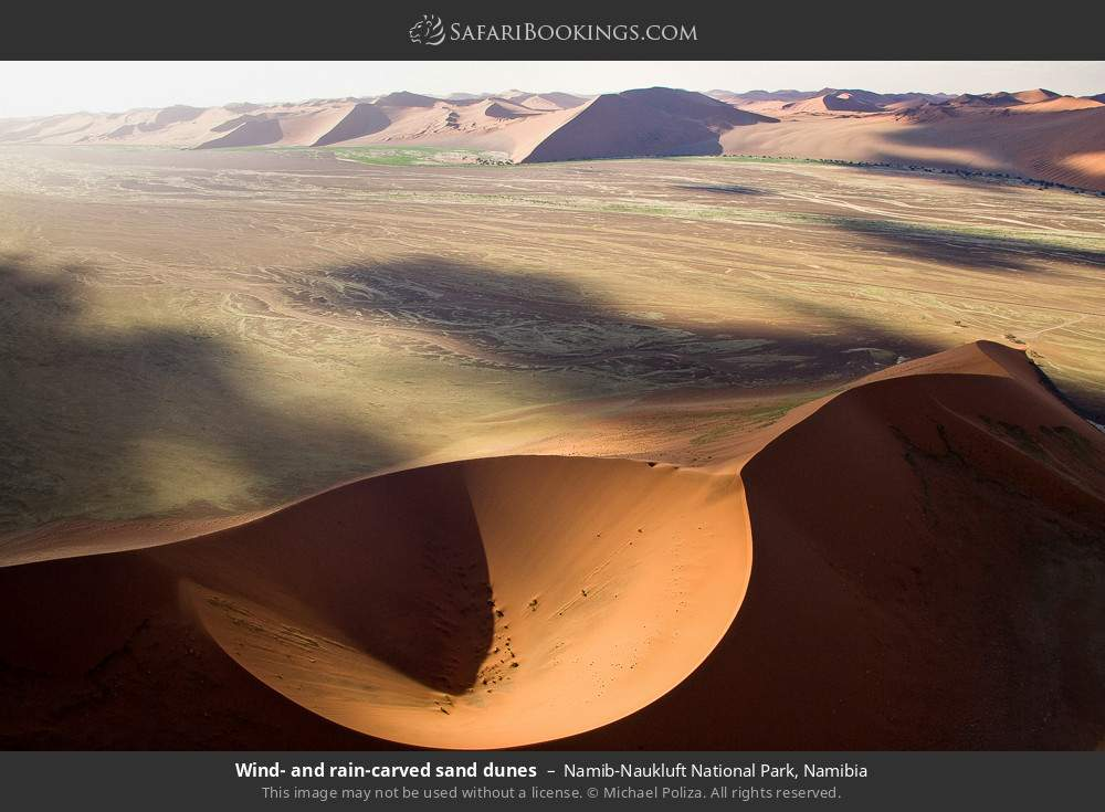 Wind and rain carved sand dunes in Namib-Naukluft National Park, Namibia
