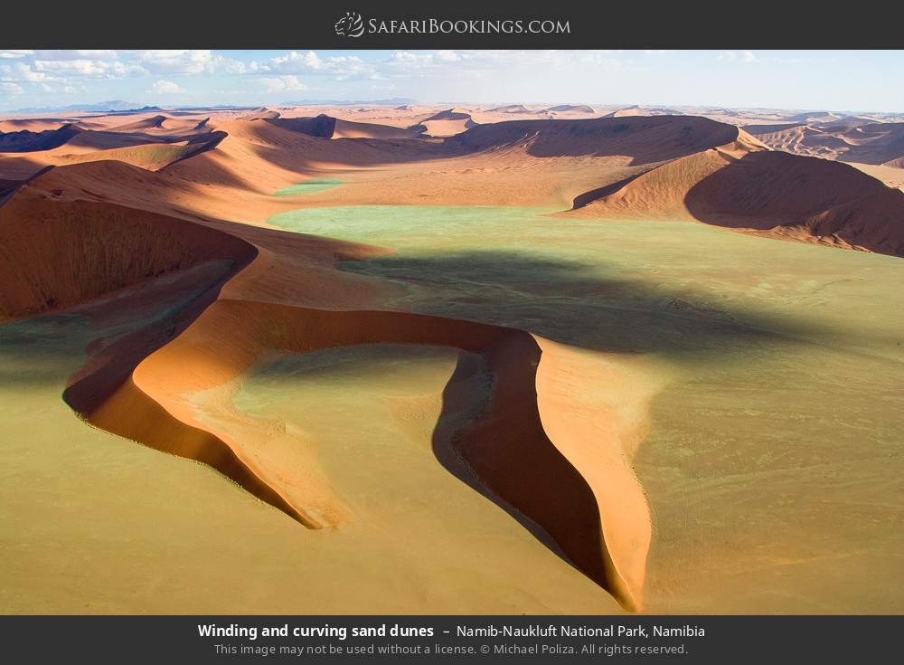 Winding and curving sand dunes in Namib-Naukluft National Park, Namibia