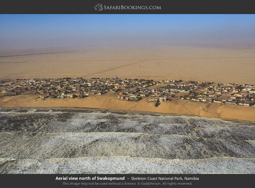 Aerial view north of Swartkopmund in Skeleton Coast National Park, Namibia