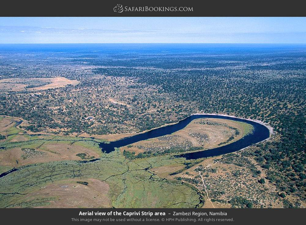 Aerial view of the Caprivi Strip area in Zambezi Region, Namibia