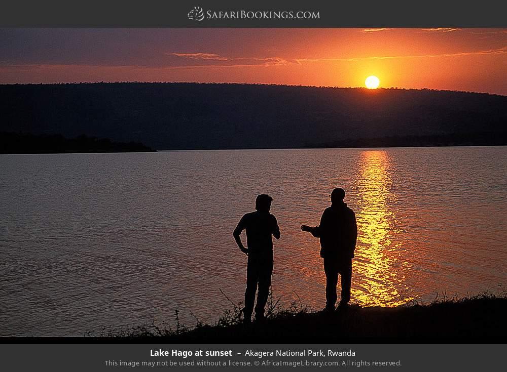 Lake Hago at sunset in Akagera National Park, Rwanda