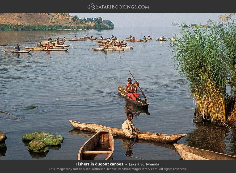 Fishermen in dugout canoes in Lake Kivu, Rwanda