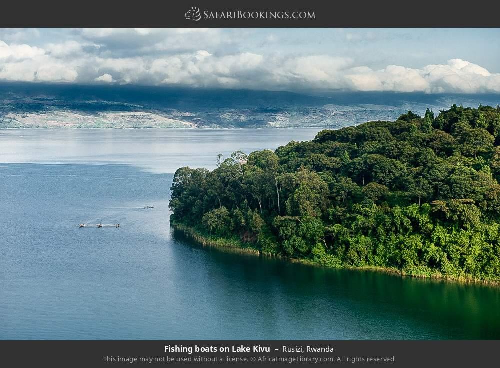 Fishing boats on Lake Kivu in Rusizi, Rwanda