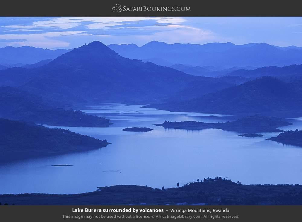 Lake Burera surrounded by volcanos in Virunga mountains, Rwanda