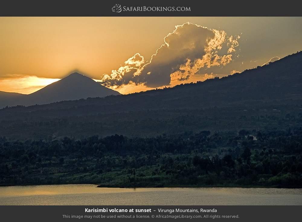 Karisimbi volcano at sunset in Virunga mountains, Rwanda