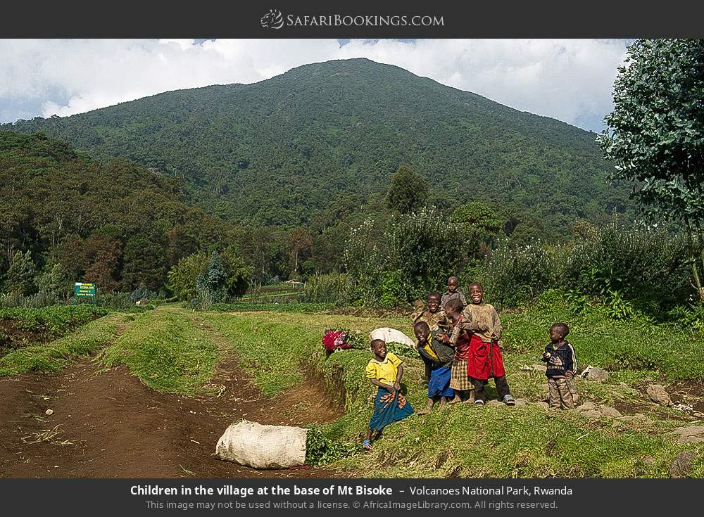 Children in the village at the base of Mount Bisoke in Volcanoes National Park, Rwanda