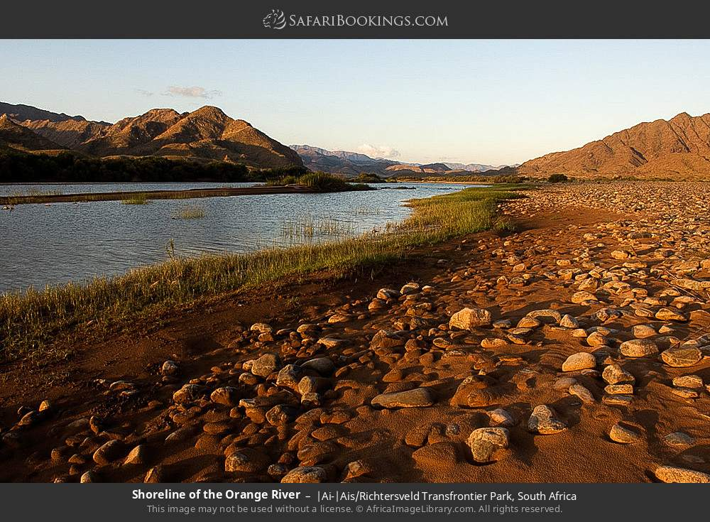 Shoreline of the Orange River in |Ai-|Ais Richtersveld Transfrontier Park, South Africa