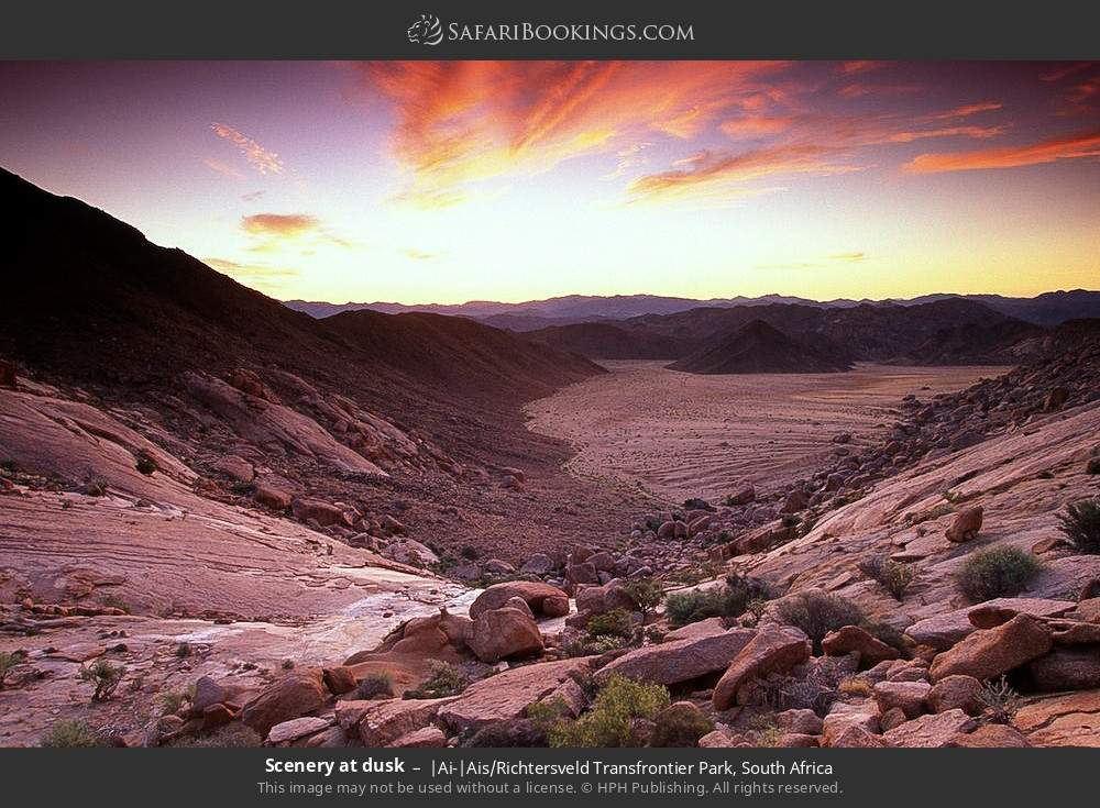 Scenery at dusk in |Ai-|Ais Richtersveld Transfrontier Park, South Africa