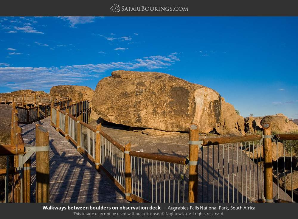 Walkways between boulders on observation deck in Augrabies Falls National Park, South Africa