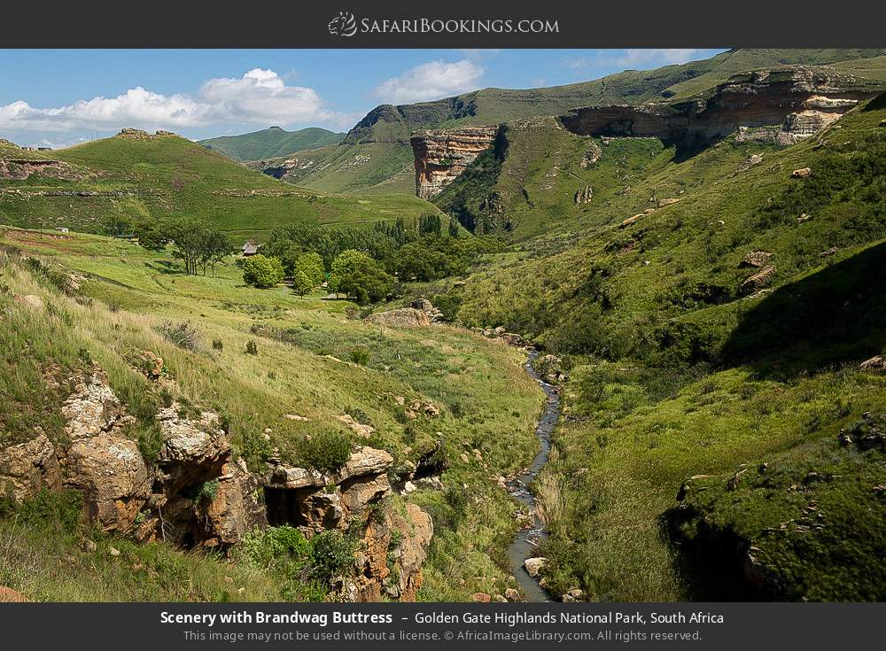 Scenery with Brandwag Buttress in Golden Gate Highlands National Park, South Africa