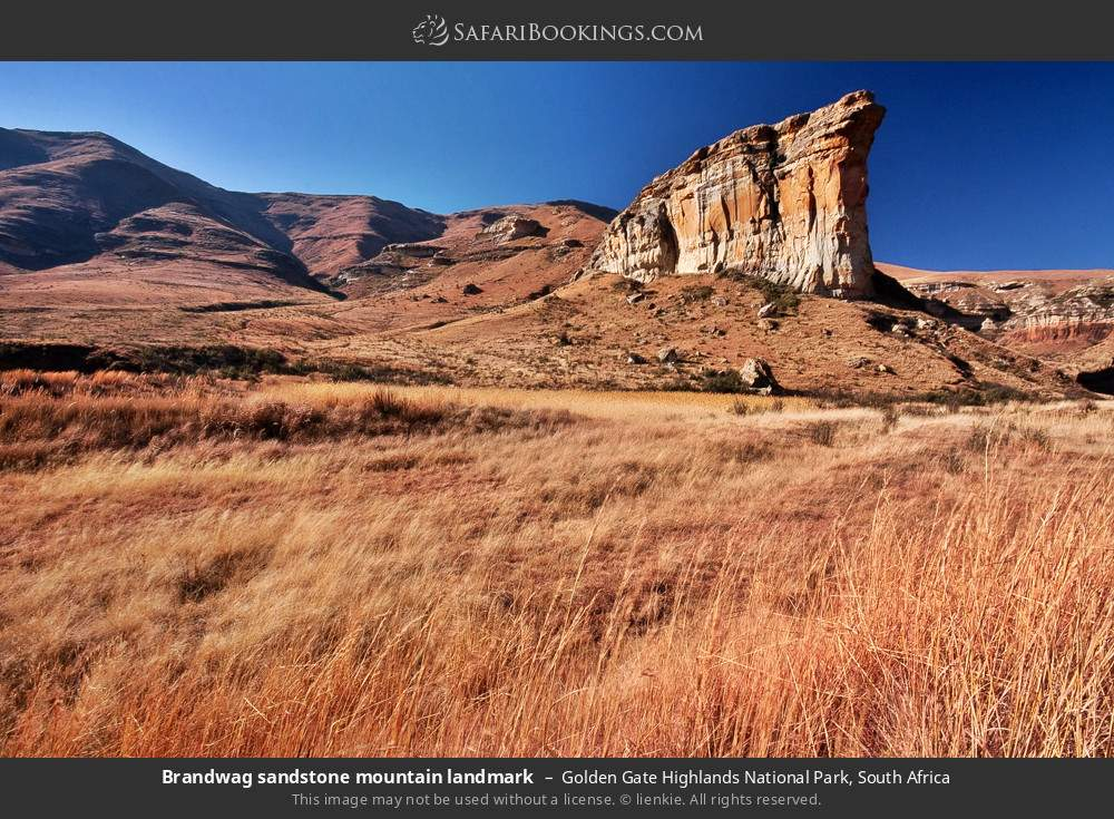 Brandwag sandstone mountain landmark in Golden Gate Highlands National Park, South Africa