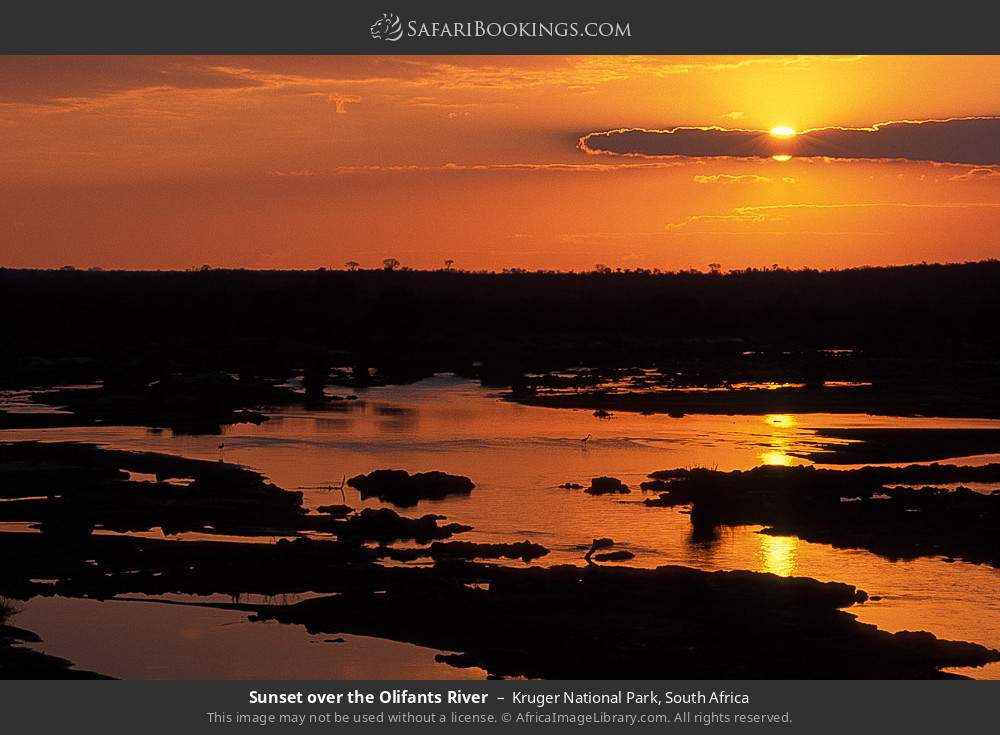 Sunset over the Olifants river in Kruger National Park, South Africa