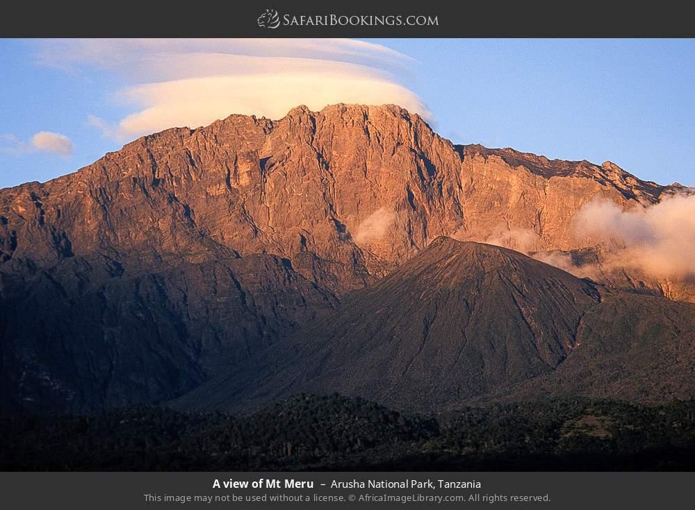 A view of Mount Meru in Arusha National Park, Tanzania