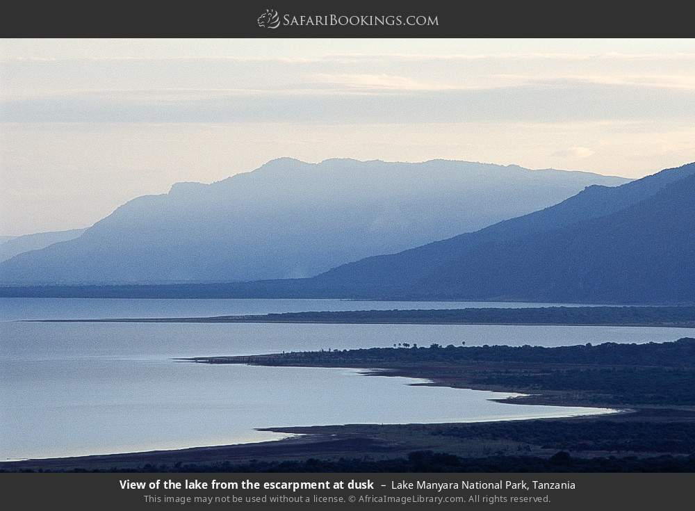 View of the lake from the escarpment at dusk in Lake Manyara National Park, Tanzania