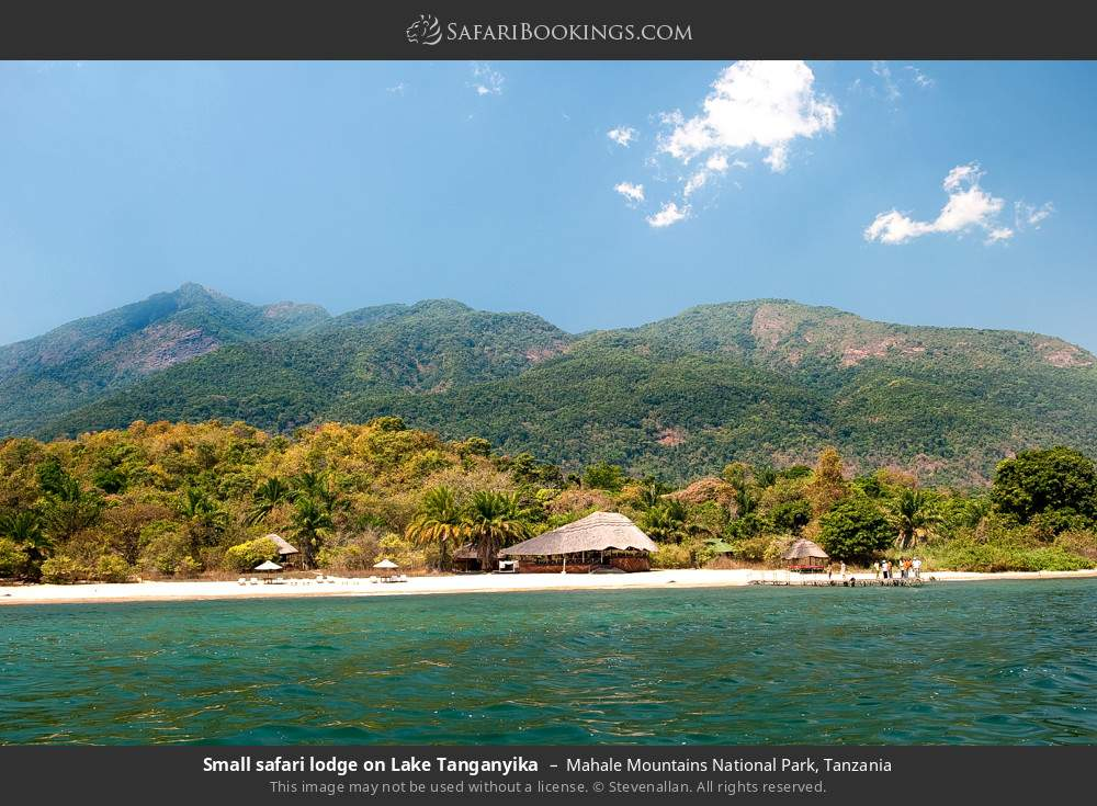 Small safari lodge on Lake Tanganyika in Mahale Mountains National Park, Tanzania