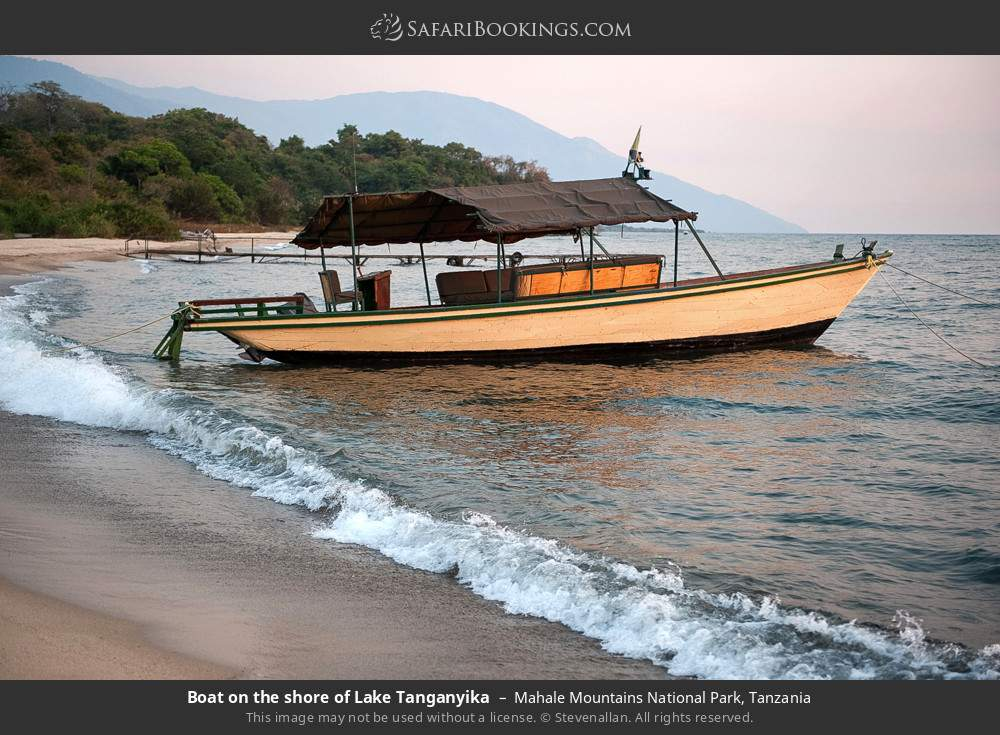 Boat on the shore of Lake Tanganyika in Mahale Mountains National Park, Tanzania
