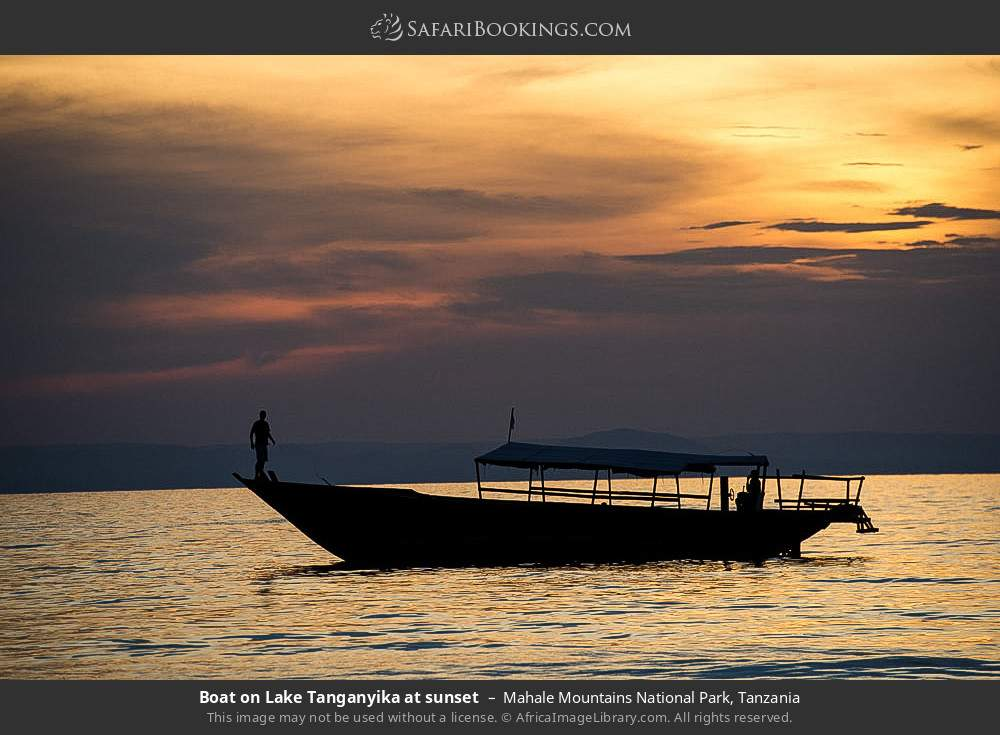 Tourist boat on Lake Tanganyika at sunset in Mahale Mountains National Park, Tanzania