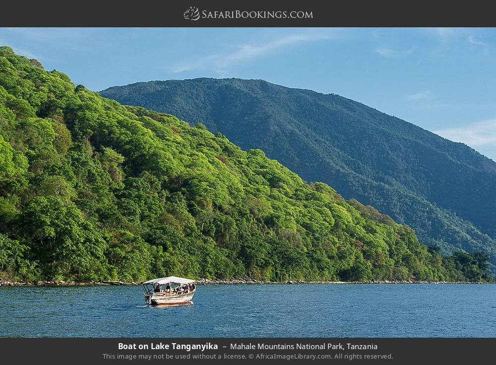 Tourist boat on Lake Tanganyika in Mahale Mountains National Park, Tanzania