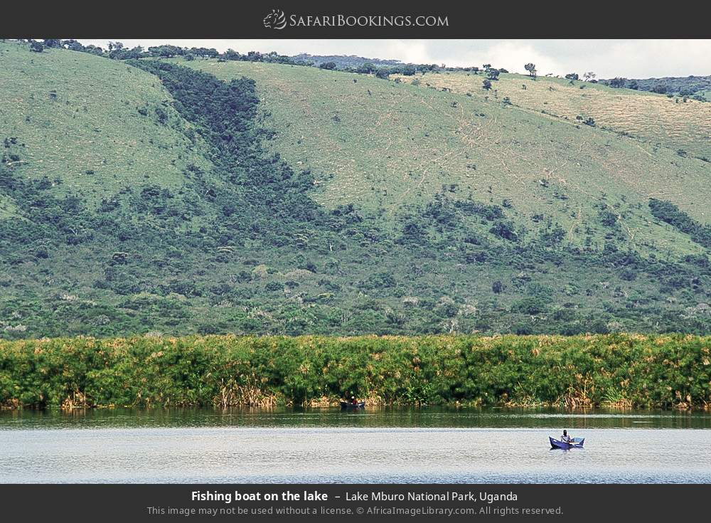 Fishing boat on the lake in Lake Mburo National Park, Uganda