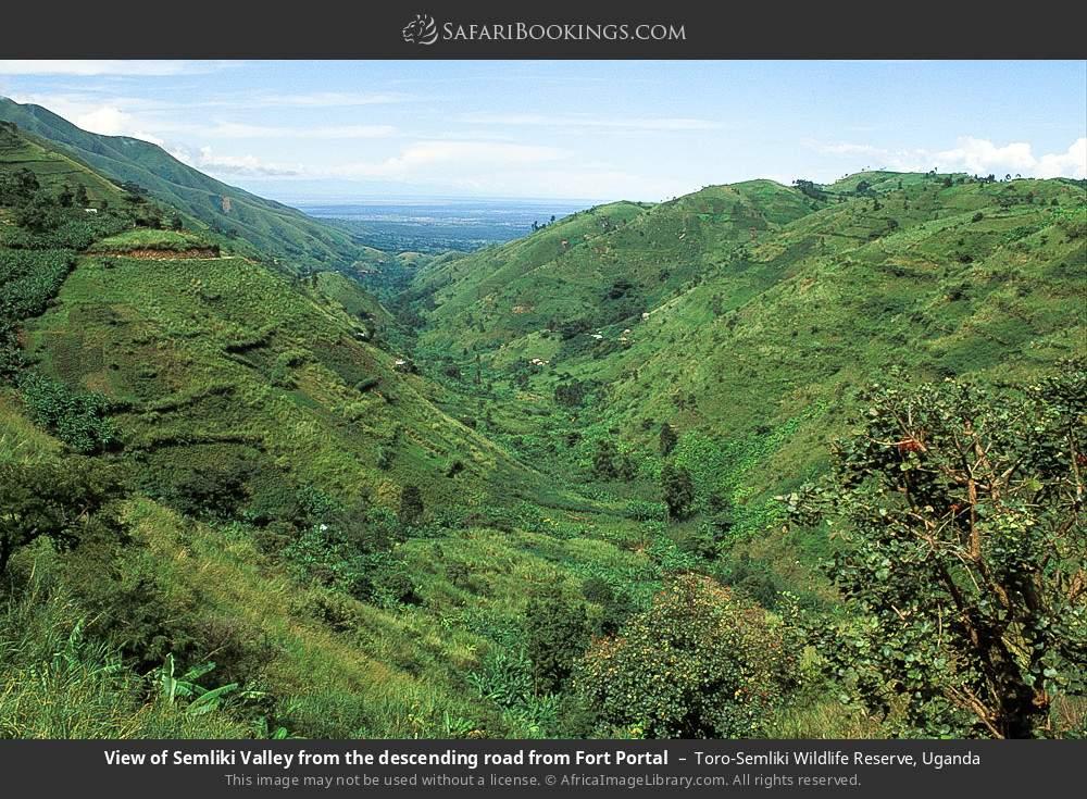 View of Semliki Valley from the descending road from Fort Portal in Toro-Semliki Wildlife Reserve, Uganda