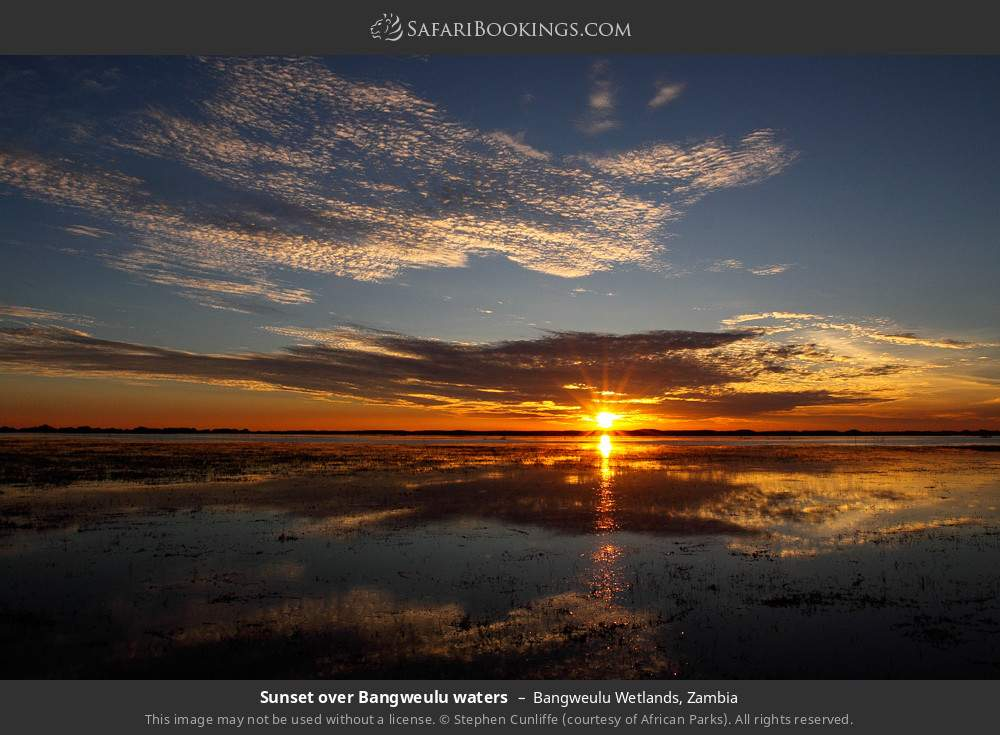 Sunset over Bangweulu waters in Bangweulu Wetlands, Zambia