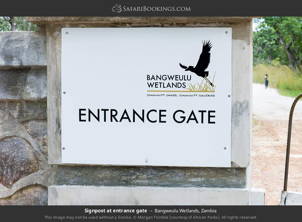Signpost at entrance gate in Bangweulu Wetlands, Zambia