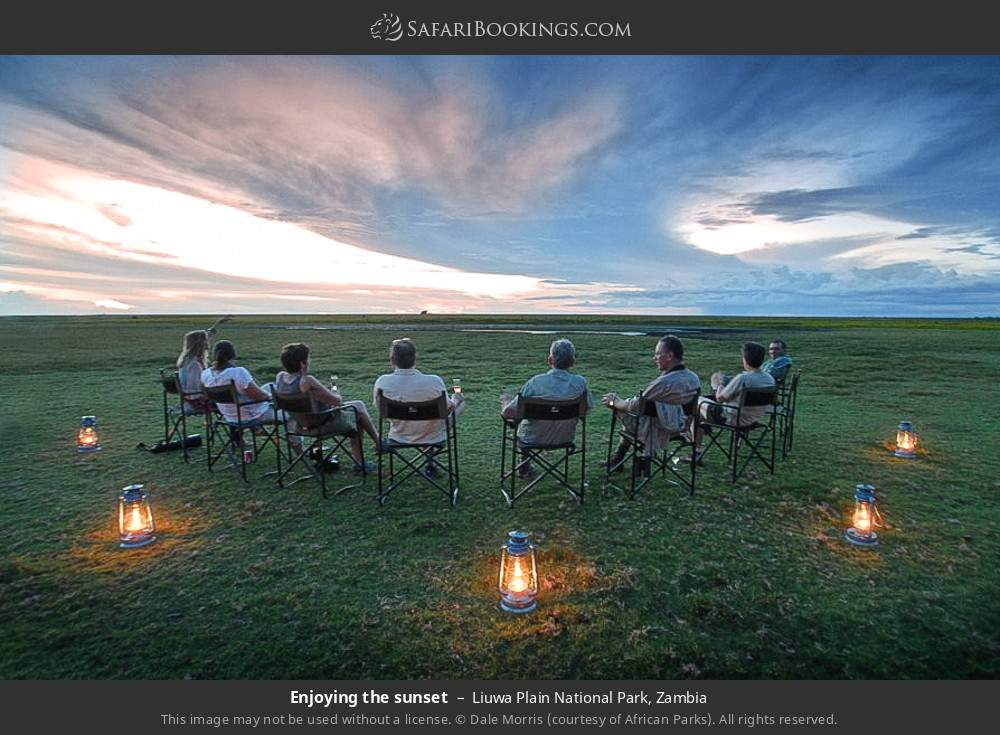 Enjoying the sunset in Liuwa Plain National Park, Zambia