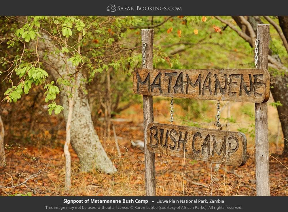 Signpost of Matamanene Bush Camp  in Liuwa Plain National Park, Zambia