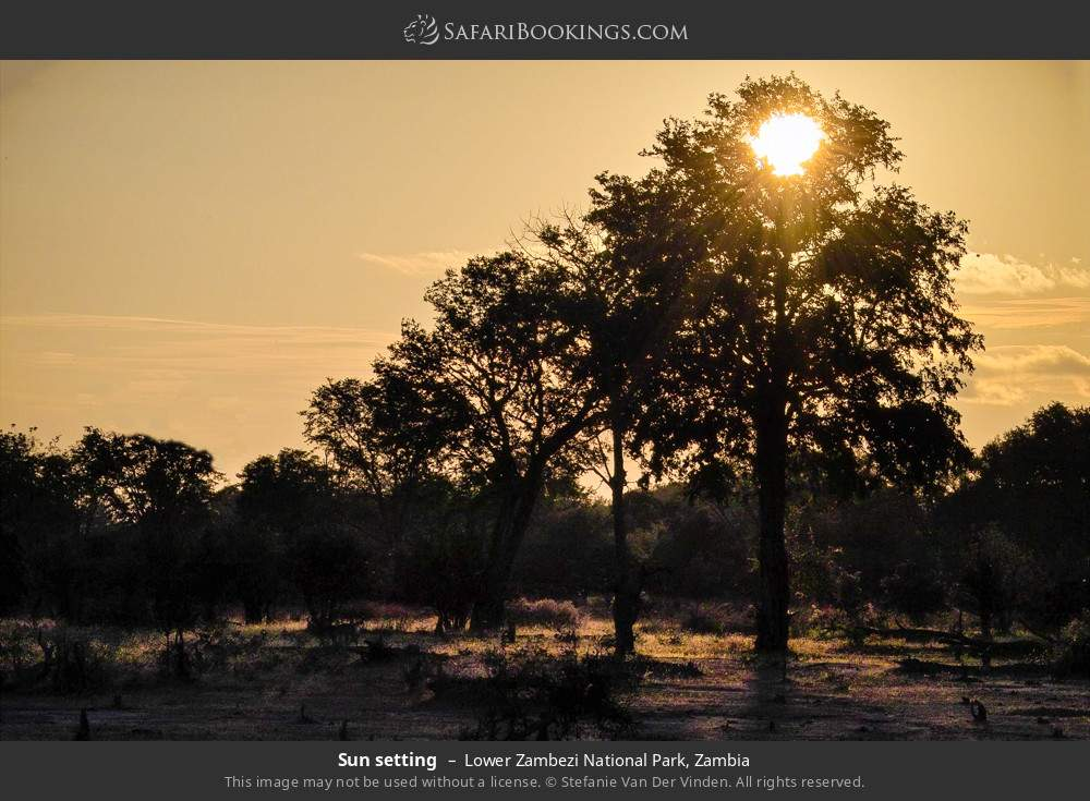 Sun setting in Lower Zambezi National Park, Zambia