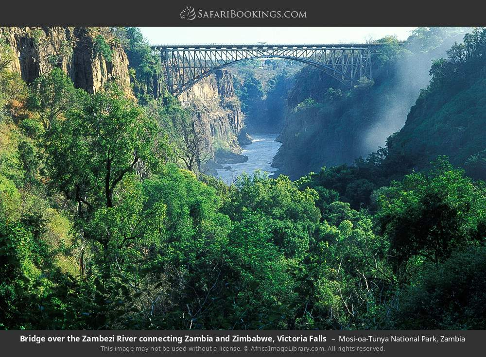 Bridge over the Zambezi river connecting Zambia and Zimbabwe, Victoria Falls in Mosi-oa-Tunya National Park, Zambia