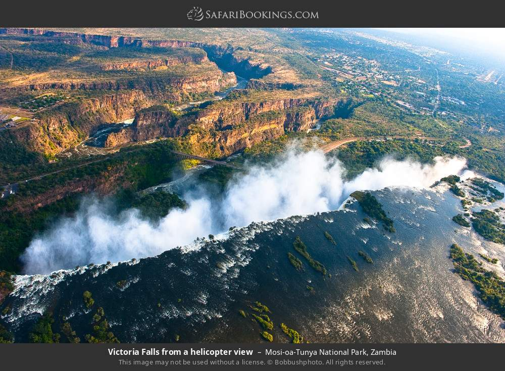 Victoria Falls from a helicopter view in Mosi-oa-Tunya National Park, Zambia