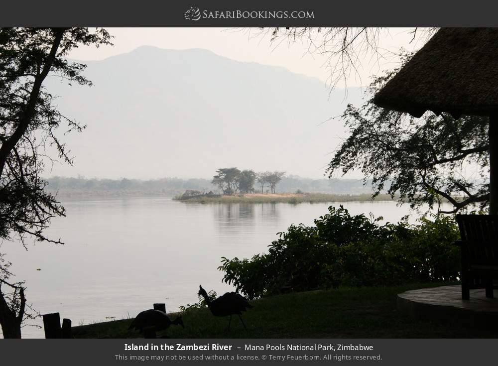 Island in the Zambezi river in Mana Pools National Park, Zimbabwe