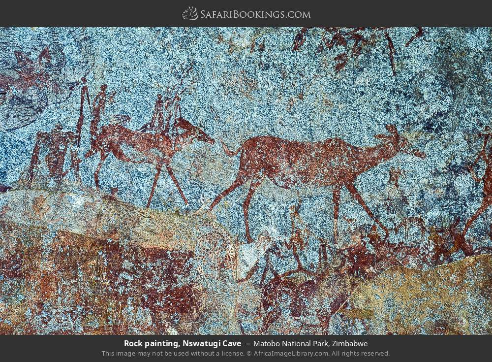 Rock painting, Nswalungi cave in Matobo National Park, Zimbabwe