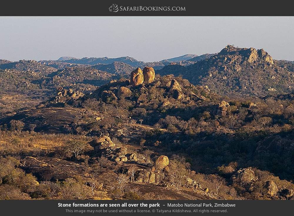 Stone formations are seen all over the park in Matobo National Park, Zimbabwe