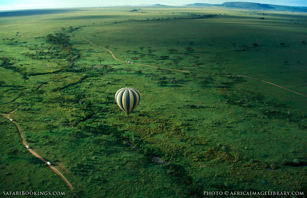 Amazing view of a balloon safari in Serengeti National Park, Tanzania