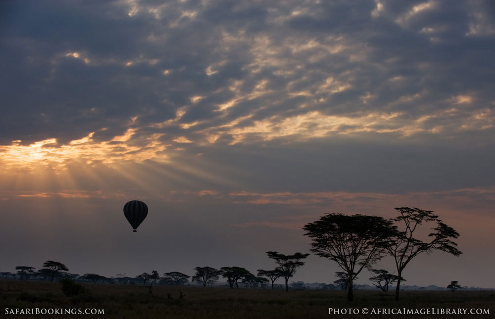 A beautiful early morning balloon safari in Serengeti National Park, Tanzania