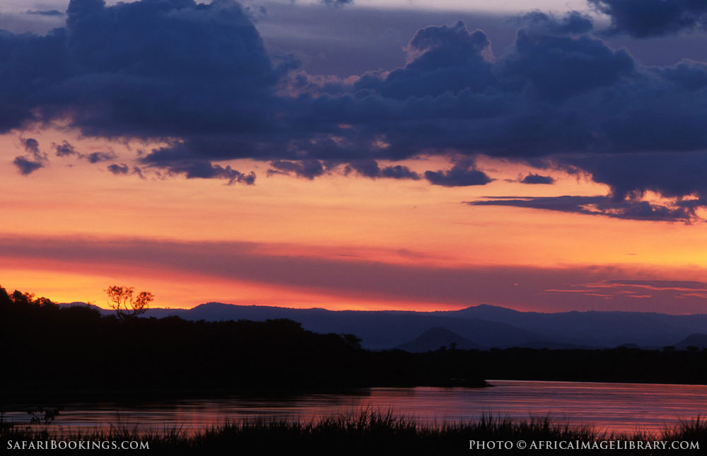 Sunset over the Nile below Murchison Falls in Murchison Falls National Park, Uganda