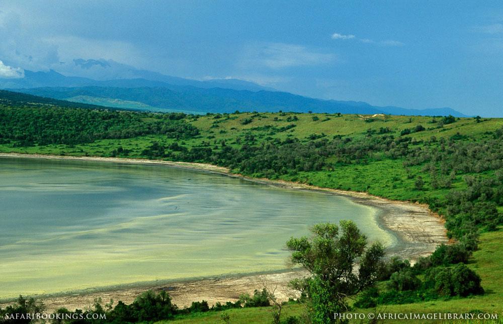 Nyamunuka crater lake in Queen Elizabeth National Park, Uganda