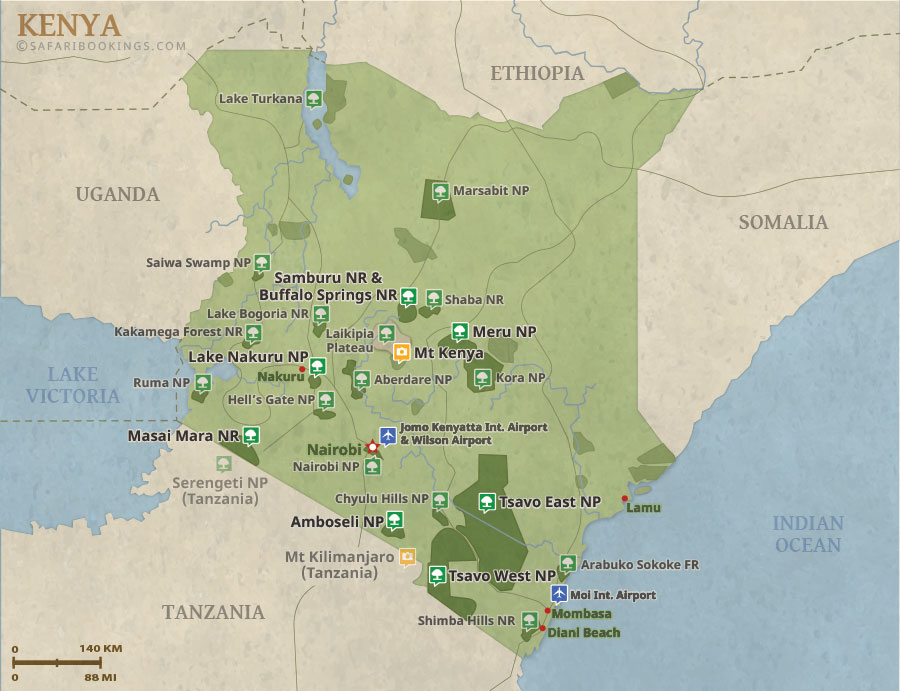 Detailed Map of Kenya National Parks