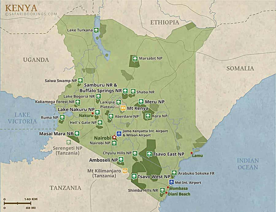 Kenya Map Detailed Map Of Kenya National Parks - Kenya map