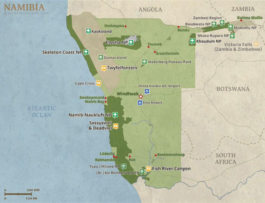 Namibia On Africa Map.Namibia Map Detailed Map Of Namibia National Parks